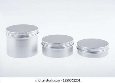 Set of round tin box isolated on background. Aluminium cartridges
