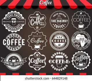Set of round vintage retro coffee labels and badges on blackboard