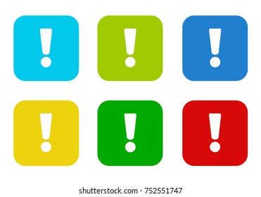 Set of rounded square colorful flat icons with exclamation mark symbol in blue, green, yellow, cyan and red colors