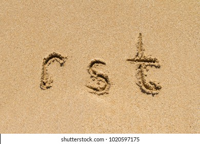 Set of rst letters of alphabet written on sand with lower case.