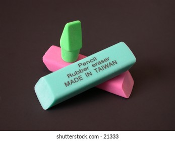 Set of rubber pencil erasers, one stamped with Pencil Rubber eraser MADE IN TAIWAN.