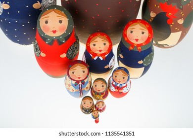 Set of Russian dolls babushka matryoshka isolated on white