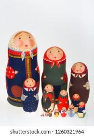 Set of Russian dolls babushka matryoshka isolated on white
