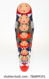 Set of Russian dolls babushka matryoshka lined up one behind other in growth