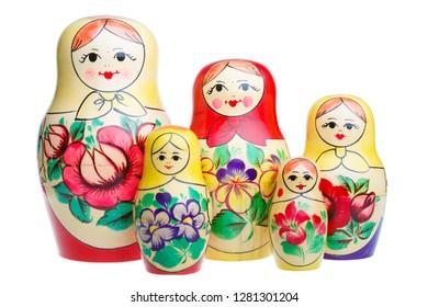 Set of Russian dolls matryoshka isolated on white