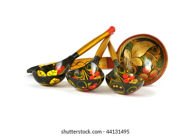 set of russian national artistic wooden spoons, isolated on white
