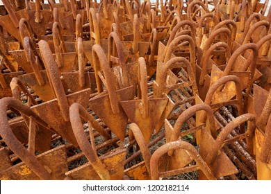 Set of rusted metal sticks texture background