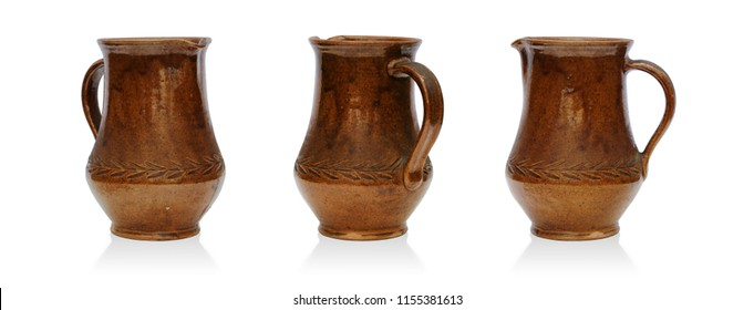 Set of rustic jugs isolated on white background