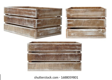 Set of rustic wooden box container isolated on white