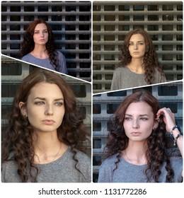 set Of sad Girl Photos In Jail Collage