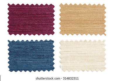 Set of sample pieces color fabric isolated on white background