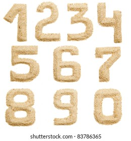 Set of Sand Number  isolated on white. Number from 0 to 9  1.2.3.4.5.6.7.8.9.0