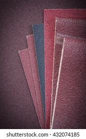 Set of sandpaper on polishing sheet.