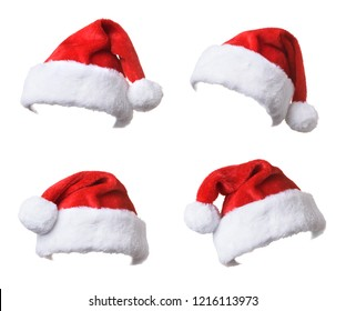 Set of Santa's red hat isolated on white background