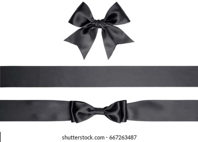 Set of satin bow and ribbons isolated on white