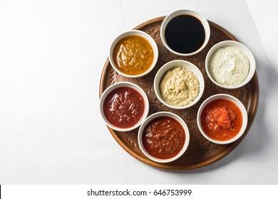 Set of sauces top view