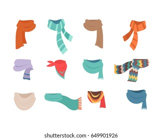 Set of scarves for boys and girls in cold weather. Stylish scarves on white background. Clothes for winter and autumn. Blue, red, brown, violet, brown, white and striped.