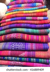 A set of scarves at the textiles market