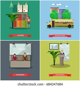 Set of school concept posters. Locker, school bus, students and professor design elements in flat style.