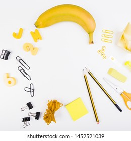 Set of school stationery and juicy fruit