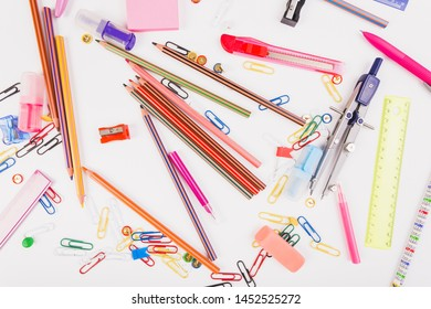 Set of school stationery top view