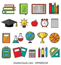 set of school supplies, education symbols and stationery. Graduate hat, alarm clock, books, apple, rulers, ball, goblet, paints, markers, pen pencil, lab flasks, notebooks, globe, backpack and other