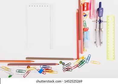 Set of school supplies top view