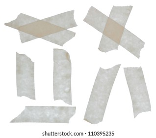 Set of scotch tape sticky slices isolated on white background