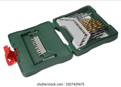 Set of screwdriver drill bits in box on white background