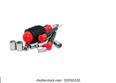 Set screwdriver isolated on white background