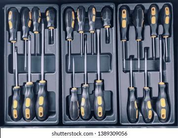 Set of Screwdrivers inside Toolbox, Screwdrivers Set, Box with Set of Tools, Set Mechanical Tools.