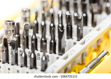 set of screwdrivers in the package close-up