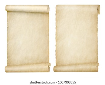 set of scrolls on white background
