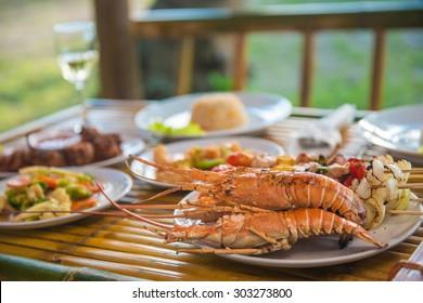 set of seafood for dinner, food