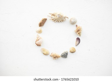 Set of seashells and stones in the shape of a circle on a beautiful white background. Place for the inscription. Postcard.