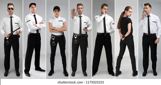 Set with security guards on light background