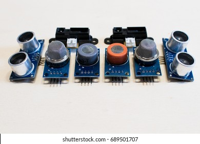 Set of sensors for methane gas, carbon monoxide, co2, ultrasonic and infrared position sensors. Tools for electronic prototyping and Internet of things
