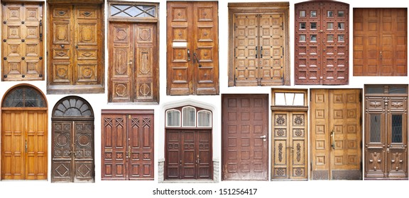 Set of several different colorful old style front doors