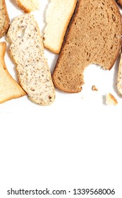 Set of several slices of different bread on a white background.