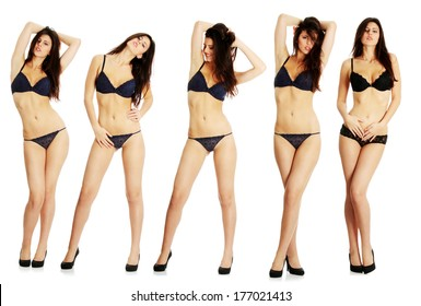 Set of sexy lady in blue lingerie, isolated on white background