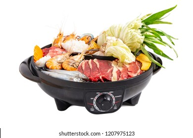 Set of shabu shabu and grill on white background, traditional Japanese food.