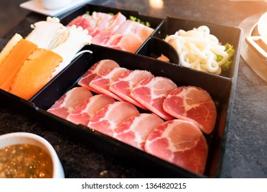 Set of shabu shabu ,Suki Shabu in restaurant , traditional Japanese food.