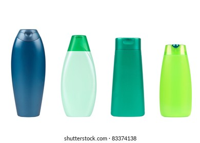 Set of shampoo plastic bottles isolated on white
