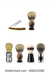 A set of shaving brushes and a straight razor. Shaving brushes with razor. Shaving brush set for men
