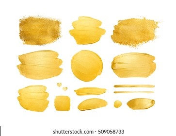 Set of shining brush strokes for you amazing design project. Watercolor texture paint stain isolated on white. Abstract hand painted golden background.