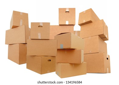 Set of shipping boxes, isolated white background