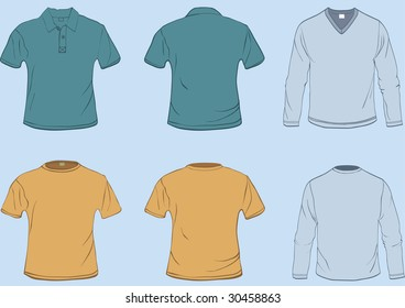 Set of shirt templates with front and back in separate easily editable layers