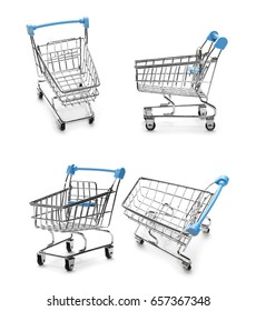Set shopping cart isolated on white background