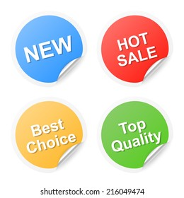 Set of shopping labels. 2d illustration