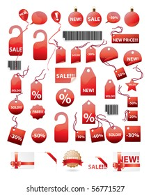 set of shopping tags and stickers in red color